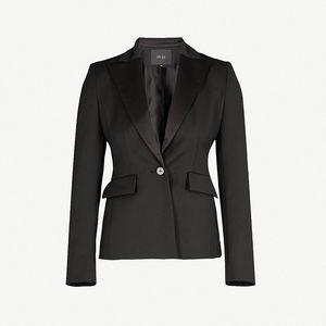 Maje 38 Viesta Classic Black Jacket Satin Blazer